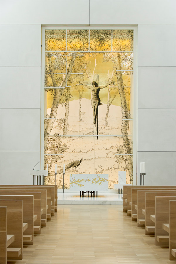 artistic stained-glass windows andrea mastrovito saint john xxiii curch bergamo new hospital lino reduzzi